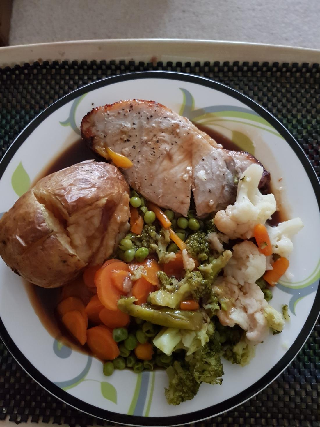 Main meal of pork medallion, jacket potato and vegetables