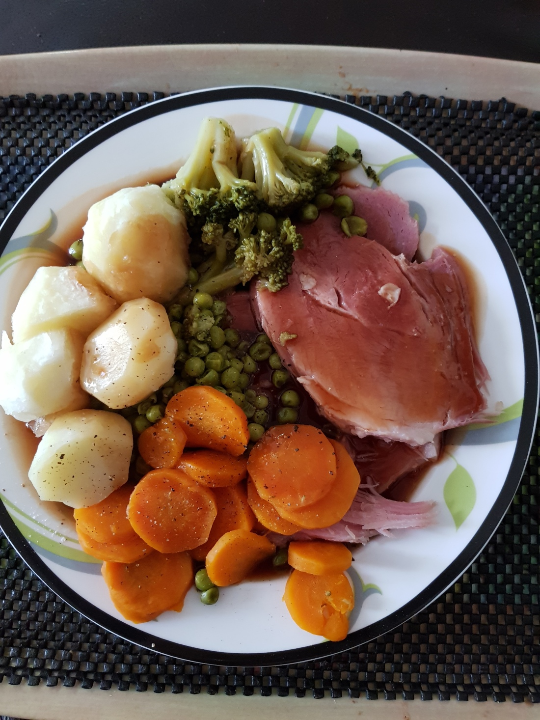 Main meal of slow cooked gammon, potatoes and vegetables